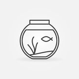 Fish bowl outline icon. Vector round aquarium with a fish minimal symbol or logo element in thin line style Royalty Free Stock Photo