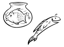 Fish bowl outlines. Cartoon outline illustration of a fish and fishbowl Royalty Free Stock Image