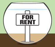 Fish Bowl For Rent. A vacant fish bowl is ready for it`s new occupant to move in Royalty Free Stock Images