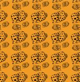 Fish-box pattern black lines, fish on yellow background stock illustration