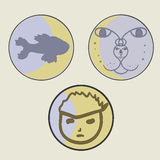 Fish, boy face and cat face -vector Royalty Free Stock Photos