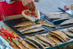 Fish in bread, Istanbul Royalty Free Stock Images