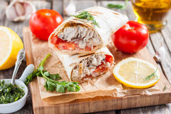 Fish in bread, in a pita. Turkish cuisine Stock Photos