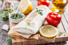 Fish in bread, in a pita. Turkish cuisine Royalty Free Stock Photography