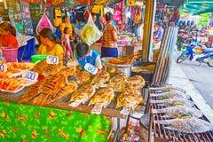 The fish in breadcrumbs barbecue, Talad Saphan Phut market, Bangkok, Thailand