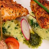 Fish in breadcrumbs with mashed potatoes Stock Image