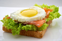 Fish breakfast. With scrambled eggs and smoked salmon on toast, served on white plate Royalty Free Stock Photo
