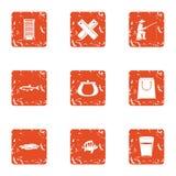 Fish breeding icons set, grunge style. Fish breeding icons set. Grunge set of 9 fish breeding vector icons for web isolated on white background Royalty Free Stock Photos