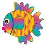 Fish bright magic golden cartoon. Vector illustration Stock Photography