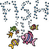 Fish Bubbles. A group of fish are having fun in the ocean and have written the word 'fish' out of their bubbles Stock Images