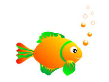 Fish and bubbles. On isolated background stock illustration