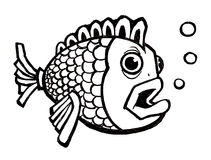 Fish with Bubbles. Ink illustration of a bold fish cartoon style with bubbles Royalty Free Stock Images