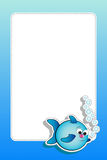 Fish with bubbles and blank frame. Fish with air bubbles - Card for kids - Scrapbook and labels useful Royalty Free Stock Photos