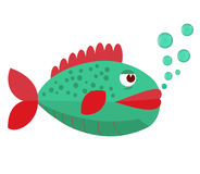 Fish with bubbles. Fish on a white background. Vector Illustration. Fish on a white background. Vector Illustration. Fish with bubbles. Fish on a white Stock Photography