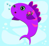 Fish Bubbles and Flower. Here is a cute Fish blowing Bubbles Royalty Free Stock Image