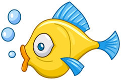 Fish with bubbles. Vector cartoon fish with bubbles royalty free illustration