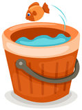 Fish in a bucket. Illustration of isolated fresh fish in a bucket on white background Royalty Free Stock Image