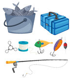 Fish in bucket and fishing set. Illustration Royalty Free Stock Image