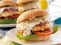 Fish burger. A burger made from fish Stock Photos