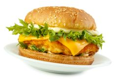 Fish burger. With breaded patty and mayonnaise on dish, isolated on white with shadow Royalty Free Stock Photography