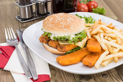 Fish Burger with Chips Royalty Free Stock Photos
