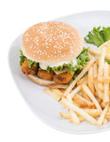 Fish Burger with Chips isolated on white Stock Photography