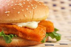 Fish burger closeup Stock Photos
