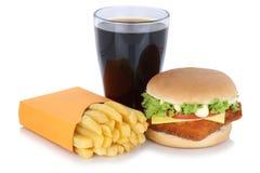 Fish burger fishburger hamburger and french fries menu meal comb Stock Photos
