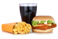 Fish burger fishburger hamburger and french fries menu meal comb. O cola drink  on a white background Royalty Free Stock Photo