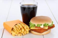Fish burger fishburger hamburger and fries menu meal combo cola. Drink Royalty Free Stock Photography