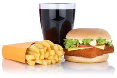 Fish burger fishburger hamburger and fries menu meal combo cola. Drink isolated on a white background Royalty Free Stock Images