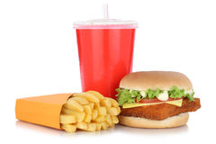Fish burger fishburger hamburger and fries menu meal combo drink. Isolated on a white background Stock Photography