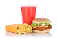 Fish burger fishburger hamburger and fries menu meal combo fast. Food drink isolated on a white background Royalty Free Stock Image