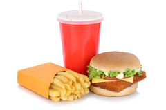 Fish burger fishburger hamburger and fries menu meal drink isolated stock image