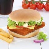 Fish burger fishburger hamburger menu meal cola drink. Fast food Royalty Free Stock Photo