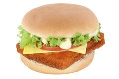 Fish burger fishburger hamburger tomatoes lettuce cheese isolate stock photography