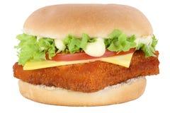 Fish burger fishburger hamburger tomatoes lettuce cheese isolate Royalty Free Stock Images