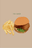Fish burger  and french fries, Hand draw illustration Royalty Free Stock Photography