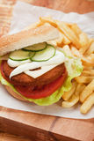 Fish burger with french fries Royalty Free Stock Images