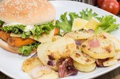 Fish Burger with fried Potatoes Royalty Free Stock Photos