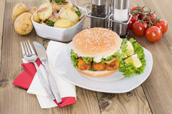 Fish Burger with fried Potatoes in a bowl Royalty Free Stock Images
