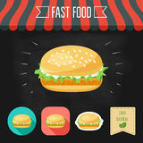 Fish burger icon on a chalkboard. Set of icons and eco label. Flat design. Vector Royalty Free Stock Photo