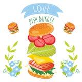 Fish burger ingredients on white background. Fish burger ingredients isolated on white background, cartoon style Stock Photo