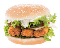Fish Burger isolated on white Stock Photography