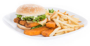 Fish Burger on a plate isolated on white Royalty Free Stock Image