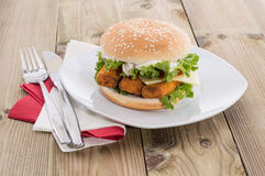 Fish Burger on a plate Royalty Free Stock Photo