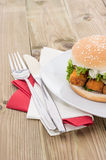 Fish Burger on a plate Stock Image