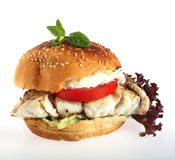 Fish burger white background Royalty Free Stock Photography
