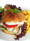 Fish burger white background Stock Image