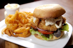 Fish burger. On white plate Royalty Free Stock Photo